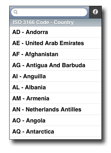 Country Codes Screenshot 1
