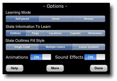 Screenshot of Options Panel